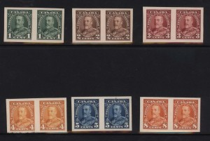 Canada #217P - #227P XF Imperforate Proof Pairs