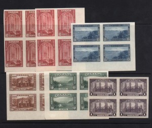 Canada #241b - #245b XF Mint Imperforate Blocks