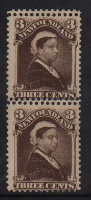 Newfoundland #51ii NH Mint Double Perforations Pair
