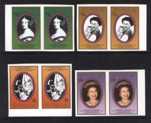 St Vincent #1017 #1018 #1019 #1021 XF/NH Rare Imperf Variety Pairs