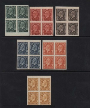 Canada #195c - #200a XF/NH Imperforate Blocks Of Four