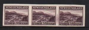 Newfoundland #141a XF Mint Imperf Strip Of Three