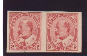 Canada #90iii VF Mint Type 1 Imperf Pair
