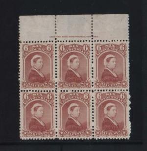 Newfoundland #35 XF Mint Plate Block Of Six
