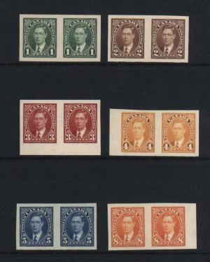 Canada #231c - #236a XF/NH Imperf Pair Set