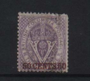 British Columbia #12i VF Used With Inverted Watermark