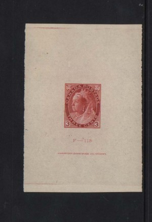 Canada #78DP XF Die Proof With ABN Inscription