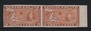 Newfoundland #234f XF/NH Rare Imperforate Pair