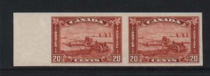 Canada #175a XF/NH Imperforate Pair