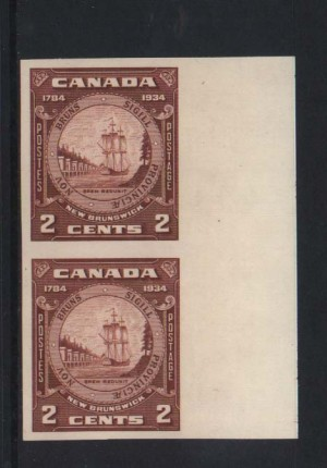 Canada #210aii XF/NH Imperf Closed Frameline Variety Pair
