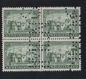 Newfoundland #213iv XF/NH Perf Specimen Block Of Four
