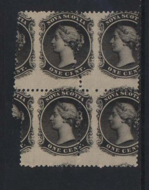 Nova Scotia #8 Mint Freak Misperf Variety Block