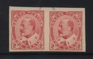 Canada #90iii XF Mint Type 1 Imperf Pair **With Cert.**