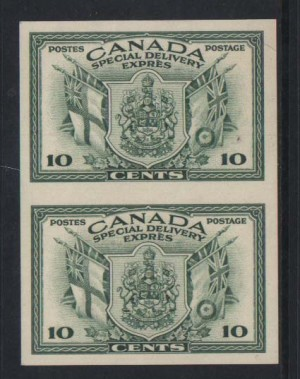 Canada #E10a XF/NH Rare Imperf Pair **With Cert.**