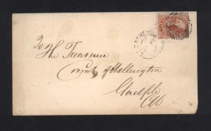 Canada #12 VF Used On Cover To Guelph Ontario **With Cert.**