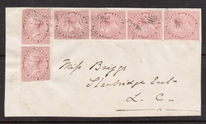 Canada #8 XF Used Strip Of Four & Pair On Cover Front