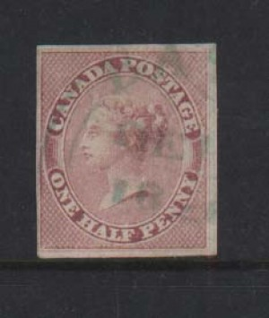 Canada #8 VF Used With Green Town Cancel **With Cert.**