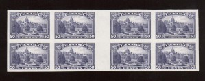 Canada #226ii XF/NH Imperforate Gutter Block Of Eight