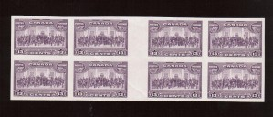 Canada #224ii XF/NH Imperforate Gutter Block Of Eight