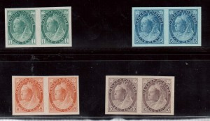 Canada #75vi #79ii #82ii #83ii XF Mint Imperforate Pairs