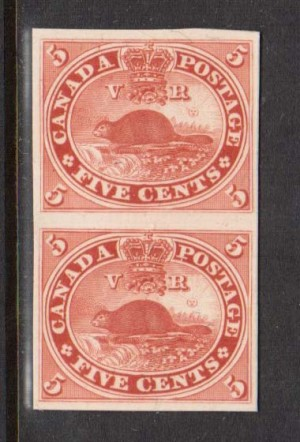 Canada #15P XF Proof Pair India Paper On Card