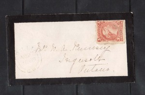 Canada #33 Used On Mourning Cover With Laid Paper **With Cert.**