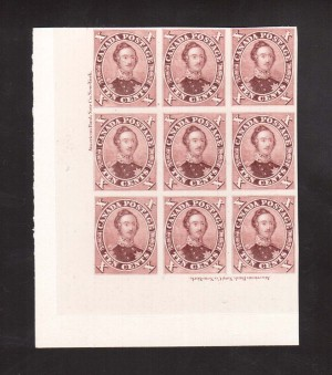 Canada #17TCi XF Imprint Proof Block Of Nine