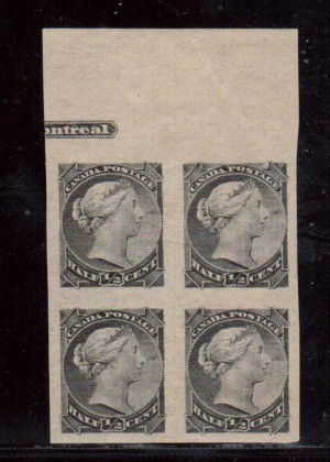 Canada #34a XF Mint Imperforate Block  **With Certificate**