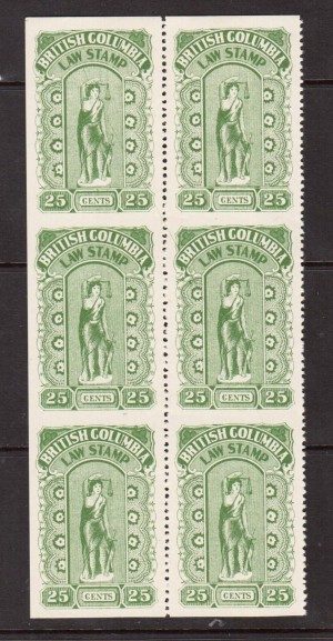 Van Dam #BCL23b XF Mint Imperf Between Block Of Six