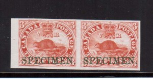 Canada #1TCi XF Proof Pair On India Paper With Horizontal Specimen