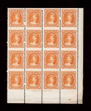 New Brunswick #7a XF Mint Imperforate Between Corner Block of 16