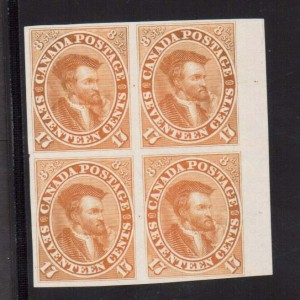 Canada #19TCii XF Proof Block In Orange On India Paper