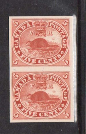 Canada #15P XF Proof Pair India On Card
