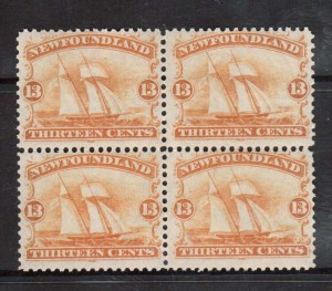 Newfoundland #30 VF/NH Block Of Four  **With Certificate**