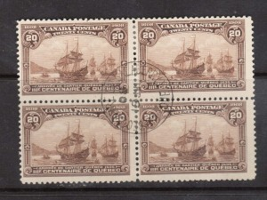 Canada #103 Used CDS Block Of four