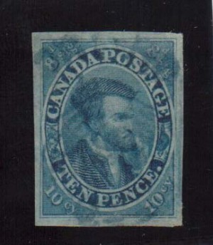 Canada #7 XF Used With Lovely Blue Town Cancel **With Cert.**