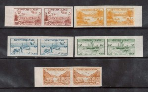 Newfoundland #C13a - #C17a XF Mint Imperforate Pair Set