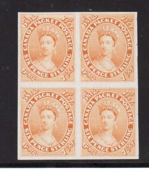 Canada #9TCiii XF Proof Block In Orange Yellow On India Paper