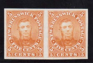 New Brunswick #5TC XF Proof Pair In Orange On India Paper