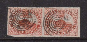 Canada #1 VF Used Pair On Laid Paper  **With Certificate**
