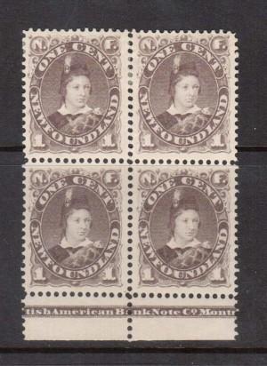 Newfoundland #42 XF Mint Plate Block