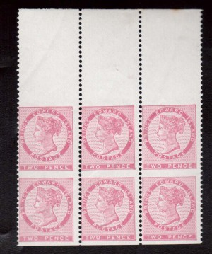 Prince Edward Island #5d NH Mint Imperf Pair In Block Of Six
