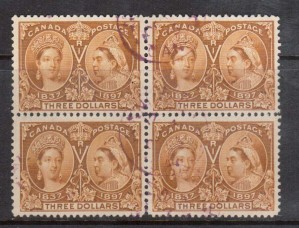 Canada #63 VF Used Block With Neat Magenta CDS Cancels