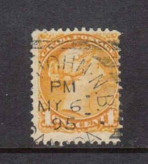 Canada #35viii Used Earliest Known Date Cancel Strand Of Hair Variety