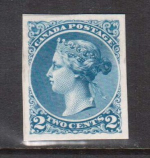 Canada #36e XF Essay In Blue On India Paper On Card