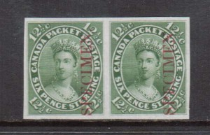 Canada #18Pi XF Proof Pair On India Paper