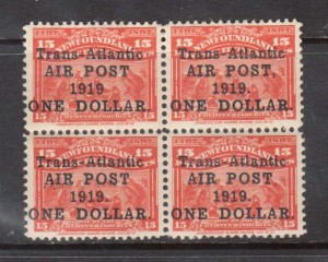 Newfoundland #C2 #C2a #C2b #C2ii VF/NH Rare Block With Four Varieties