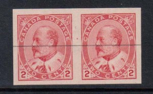 Canada #90v XF/NH Imperf Pair With Single Black Line **With Cert.**