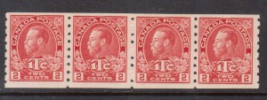 Canada #MR6 XF/NH Strip Of Four **With Certificate**