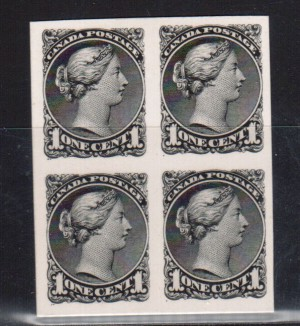 Canada #35P(TC) XF Proof Block In Black India Paper On Card